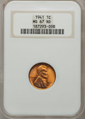 Lincoln Cents: , 1941 1C MS67 Red NGC. NGC Census: (752/0). PCGS Population (182/1).Mintage: 887,039,104. Numismedia Wsl. Price for problem...