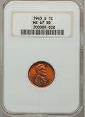 Lincoln Cents: , 1945-S 1C MS67 Red NGC. NGC Census: (1117/0). PCGS Population(697/0). Mintage: 181,770,000. Numismedia Wsl. Price for prob...