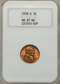 Lincoln Cents: , 1939-D 1C MS67 Red NGC. NGC Census: (538/0). PCGS Population(398/8). Mintage: 15,160,000. Numismedia Wsl. Price for proble...