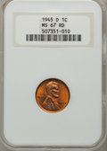 Lincoln Cents: , 1945-D 1C MS67 Red NGC. NGC Census: (685/0). PCGS Population(226/0). Mintage: 266,268,000. Numismedia Wsl. Price for probl...