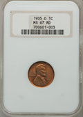 Lincoln Cents: , 1935-D 1C MS67 Red NGC. NGC Census: (178/0). PCGS Population(72/1). Mintage: 47,000,000. Numismedia Wsl. Price for problem...