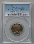 Buffalo Nickels, 1913-D 5C Type One, 2 Feathers -- Environmental Damage -- PCGSGenuine. XF Details. T-1. FS-401. NGC Census: (4/1934). PCG...