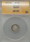 Seated Half Dimes: , 1872 H10C AU53 ANACS. NGC Census: (7/336). PCGS Population (8/354).Mintage: 2,947,950. Numismedia Wsl. Price for problem f...