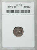 Seated Half Dimes: , 1857-O H10C AU58 ANACS. NGC Census: (32/134). PCGS Population(27/102). Mintage: 1,380,000. Numismedia Wsl. Price for probl...