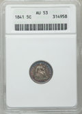 Seated Half Dimes: , 1841 H10C AU53 ANACS. NGC Census: (2/157). PCGS Population (6/104).Mintage: 1,150,000. Numismedia Wsl. Price for problem f...