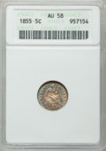Seated Half Dimes: , 1855 H10C Arrows AU58 ANACS. NGC Census: (25/178). PCGS Population(31/133). Mintage: 1,750,000. Numismedia Wsl. Price for ...