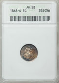 Seated Half Dimes: , 1868-S H10C AU58 ANACS. NGC Census: (26/100). PCGS Population(15/68). Mintage: 280,000. Numismedia Wsl. Price for problem ...