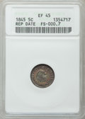 Seated Half Dimes: , 1845 H10C Repunched Date FS-000.7. XF45 ANACS. NGC Census: (6/196).PCGS Population (7/190). Mintage: 1,564,000. Numismedia...