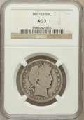 Barber Half Dollars, 1897-O 50C AG3 NGC. NGC Census: (0/155). PCGS Population (54/350).Mintage: 632,000. Numismedia Wsl. Price for problem free...