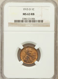 Lincoln Cents, 1915-D 1C MS63 Red and Brown NGC. NGC Census: (70/192). PCGSPopulation (101/302). Mintage: 22,050,000. Numismedia Wsl. Pri...