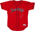 Baseball Collectibles:Uniforms, 2007 Jacoby Ellsbury Game Worn Signed Portland Seadogs Jersey. ...