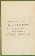 "Autographs:Others, 1910 Christy Mathewson Signed ""Won in the Ninth"" Book. ..."