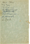 Golf Collectibles:Autographs, 1932 Banquet Program Signed by Bobby Jones & New York YankeesHall of Famers....