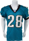 Football Collectibles:Uniforms, 2003 Fred Taylor Game Worn Jacksonville Jaguars Jersey - Great Use....