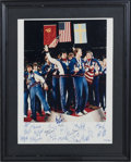 "Hockey Collectibles:Photos, 1980 United State Hockey ""Miracle on Ice"" Team Signed OversizedPhotograph, With Herb Brooks...."