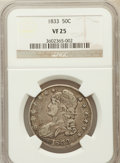 Bust Half Dollars, 1833 50C VF25 NGC. NGC Census: (15/1323). PCGS Population(32/1482). Mintage: 5,206,000. Numismedia Wsl. Price for problem...