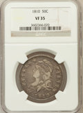 Bust Half Dollars: , 1810 50C VF35 NGC. NGC Census: (33/543). PCGS Population (68/490).Mintage: 1,276,276. Numismedia Wsl. Price for problem fr...