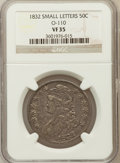 Bust Half Dollars, 1832 50C Small Letters VF35 NGC. O-110. NGC Census: (0/0). PCGSPopulation (0/8)....