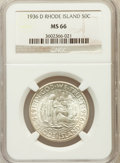 Commemorative Silver: , 1936-D 50C Rhode Island MS66 NGC. NGC Census: (245/38). PCGSPopulation (456/52). Mintage: 15,010. Numismedia Wsl. Price fo...