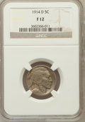 Buffalo Nickels: , 1914-D 5C Fine 12 NGC. NGC Census: (25/971). PCGS Population(42/1499). Mintage: 3,912,000. Numismedia Wsl. Price for probl...