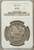 Morgan Dollars, 1893 $1 VF35 NGC. NGC Census: (71/3500). PCGS Population(121/5336). Mintage: 389,792. Numismedia Wsl. Price for problemfr...