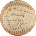 Baseball Collectibles:Balls, 1944 New York Giants Team Signed Baseball....