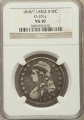 Bust Half Dollars, 1818/7 50C Large 8 VG10 NGC. O101a. PCGS Population (2/157)....