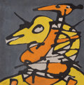 Latin American:Contemporary, JULIAN MORALES (Cuban, 1937-1990). Yellow and OrangeBird-Like, 1978. Oil on canvas. 8 x 8 inches (20.3 x 20.3 cm).FR...