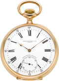 Timepieces:Pocket (post 1900), Patek Philippe & Cie Choice Chronometro Gondolo Gold Pocket Watch, circa 1908. ...