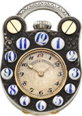 Timepieces:Pocket (post 1900), Vacheron Constantin Unusual Silver Enamel & Gold Padlock Form Watch, circa 1908. ...