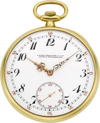 Patek Philippe & Cie Fine Gold Pocket Watch With Original Box & Papers, circa 1921