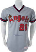 Baseball Collectibles:Uniforms, 1982-84 Rod Carew Game Worn Signed Angels Jersey. ...
