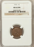 Lincoln Cents, 1915 1C MS62 Brown NGC. NGC Census: (15/139). PCGS Population(11/147). Mintage: 29,092,120. Numismedia Wsl. Price for prob...