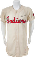 Baseball Collectibles:Uniforms, 1955 Ralph Kiner Game Worn Cleveland Indians Jersey....