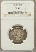 Barber Quarters: , 1915-D 25C VF35 NGC. NGC Census: (4/538). PCGS Population (4/751).Mintage: 3,694,000. Numismedia Wsl. Price for problem fr...