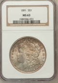 Morgan Dollars, 1891 $1 MS63 NGC. NGC Census: (2192/1274). PCGS Population(2897/1828). Mintage: 8,694,206. Numismedia Wsl. Price for probl...