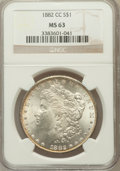 Morgan Dollars: , 1882-CC $1 MS63 NGC. NGC Census: (3884/8370). PCGS Population(7776/16650). Mintage: 1,133,000. Numismedia Wsl. Price for p...