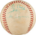 Autographs:Baseballs, Late 1950's Hall of Famers Multi-Signed Baseball with Cobb, Foxx....