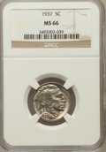 Buffalo Nickels: , 1937 5C MS66 NGC. NGC Census: (4172/391). PCGS Population(3556/316). Mintage: 79,485,768. Numismedia Wsl. Price forproble...