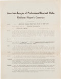 Autographs:Others, 1921 Del Bissonette Signed New York Yankees Uniform Player's Contract....