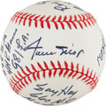 Baseball Collectibles:Balls, 1990s Willie Mays Single Signed Stat Baseball With 16 Career Inscriptions. ...