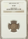 Coins of Hawaii: , 1883 10C Hawaii Ten Cents VF30 NGC. NGC Census: (25/327). PCGS Population (48/515). Mintage: 250,000. ...