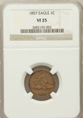 Flying Eagle Cents: , 1857 1C VF25 NGC. NGC Census: (32/2630). PCGS Population (61/3464).Mintage: 17,450,000. Numismedia Wsl. Price for problem ...