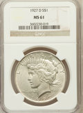 Peace Dollars: , 1927-D $1 MS61 NGC. NGC Census: (211/2054). PCGS Population(255/3850). Mintage: 1,268,900. Numismedia Wsl. Price for probl...
