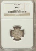 Seated Dimes: , 1871 10C XF45 NGC. NGC Census: (4/52). PCGS Population (0/55).Mintage: 906,700. Numismedia Wsl. Price for problem free NGC...