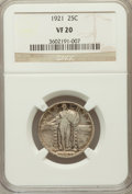 Standing Liberty Quarters, 1921 25C VF20 NGC. NGC Census: (32/565). PCGS Population (45/881).Mintage: 1,916,000. Numismedia Wsl. Price for problem fr...