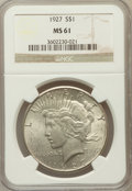 Peace Dollars: , 1927 $1 MS61 NGC. NGC Census: (371/3695). PCGS Population(208/5439). Mintage: 848,000. Numismedia Wsl. Price for problemf...
