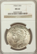 Peace Dollars: , 1926-S $1 MS62 NGC. NGC Census: (697/3682). PCGS Population(969/4938). Mintage: 6,980,000. Numismedia Wsl. Price for probl...