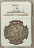 Morgan Dollars, 1886-S $1 VF20 NGC. NGC Census: (4/3471). PCGS Population(11/5716). Mintage: 750,000. Numismedia Wsl. Price for problemfr...