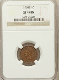 Indian Cents, 1908-S 1C XF45 Brown NGC. NGC Census: (183/601). PCGS Population(234/625). Mintage: 1,115,000. Numismedia Wsl. Price for p...